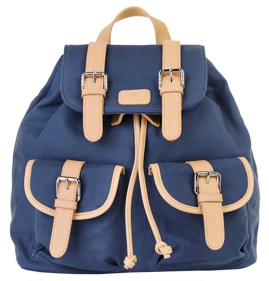 ELITE MODEN Canvas Damen Rucksack in blau