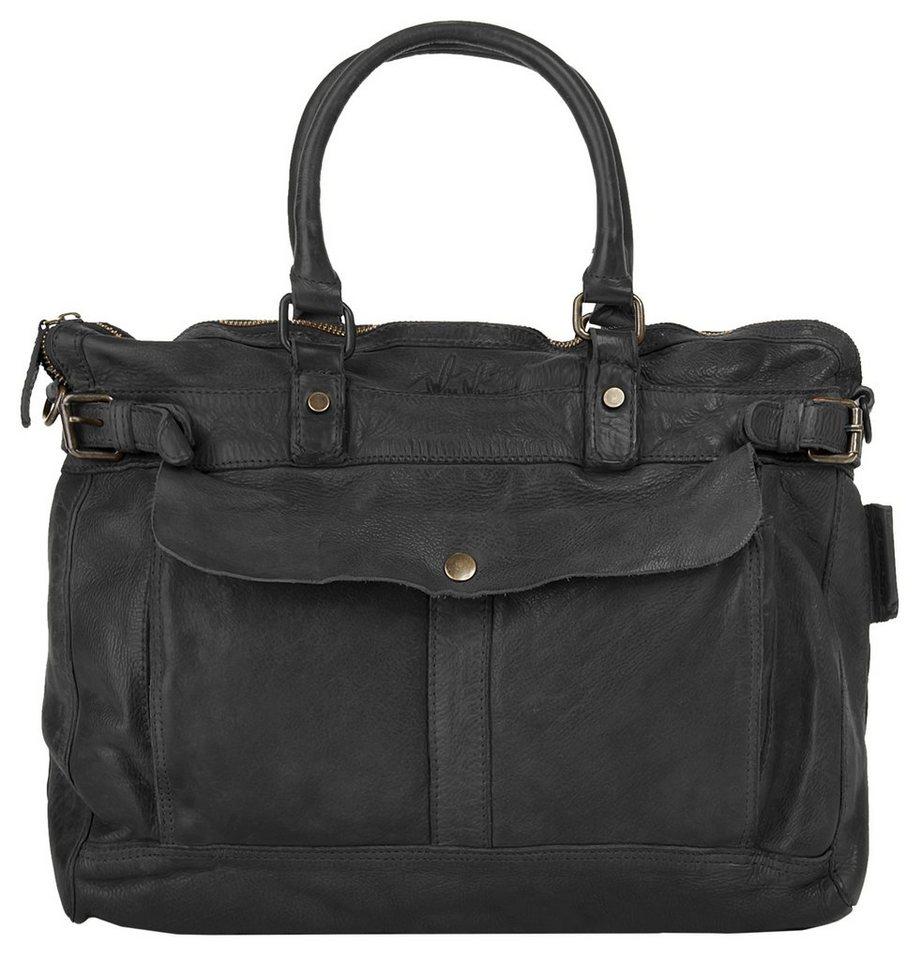 WouWou Leder Damen Handtasche in schwarz