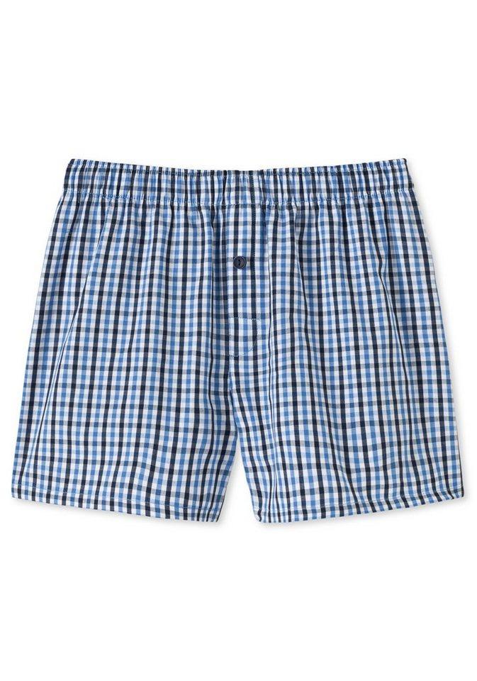 Schiesser Boxershorts for boys, weit geschnitten für eine bequeme Passform in Karo weiß/marine/blau