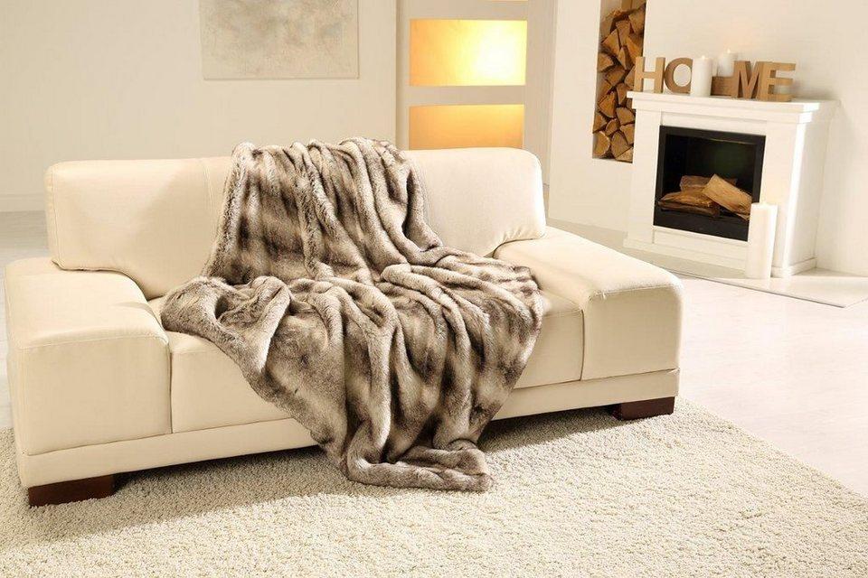 Wohndecke, Gözze, »Rentier Felloptik«, warme Qualität in grau-beige