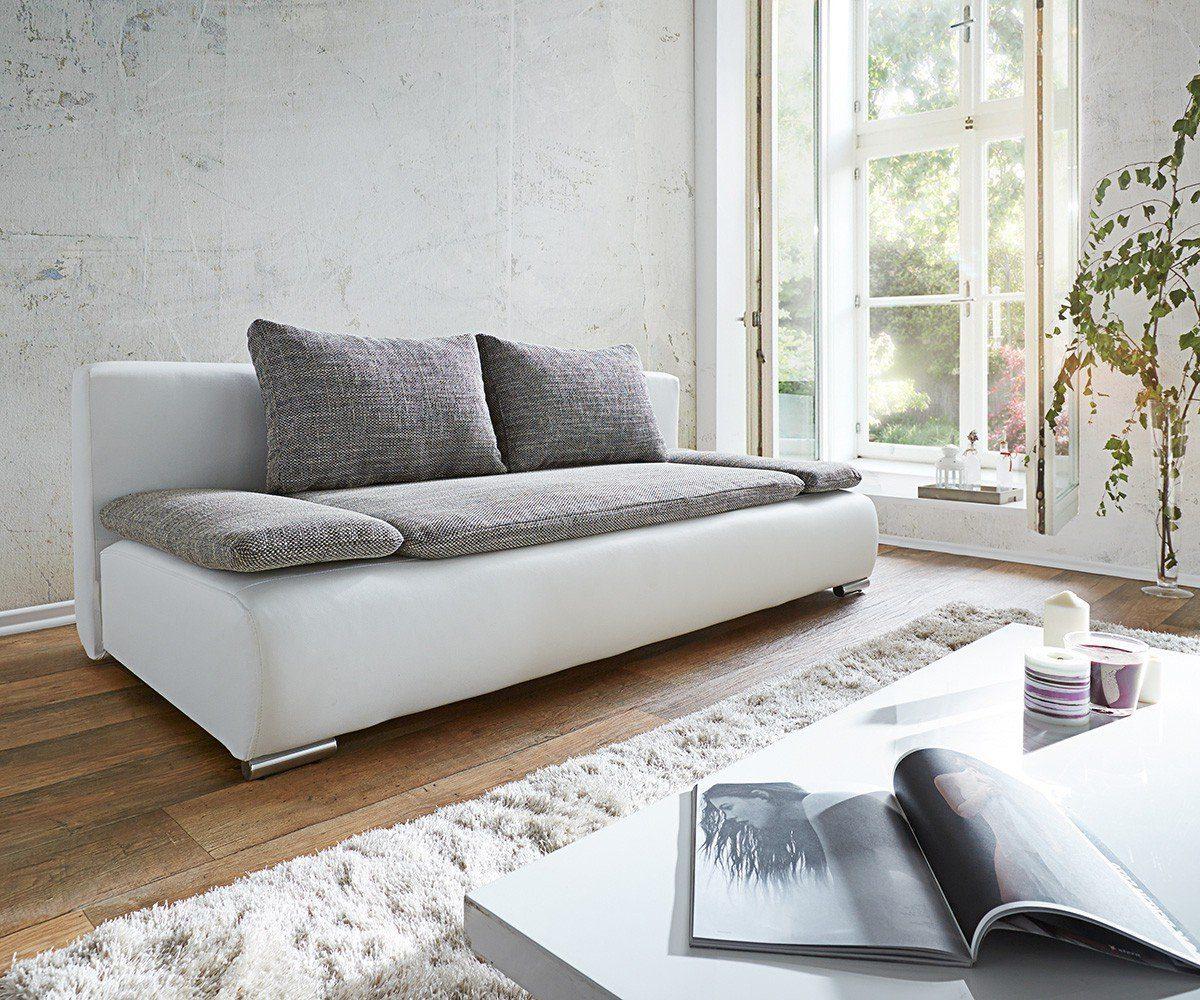 DELIFE Couch Benno Weiss Hellgrau Sofa mit Schlaffunktion und