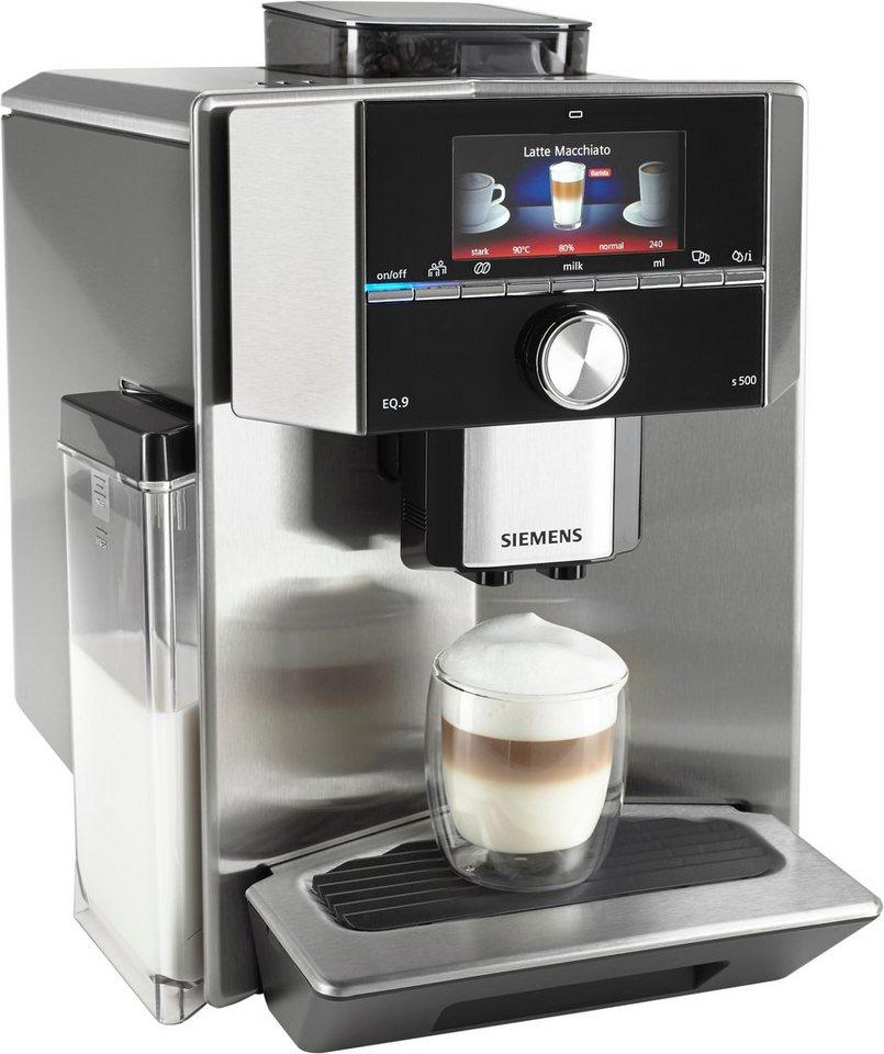 Siemens Kaffeevollautomat EQ.9 s500 TI905501DE, Integrierter Milchtank, 19 bar, 1500 Watt in Edelstahl / Edelstahl