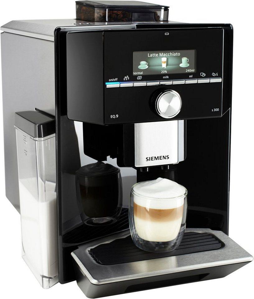 Siemens Kaffeevollautomat EQ.9 s300 TI903509DE, Integrierter Milchtank, 19 bar in Edelstahl / Hochglanz-Schwarz