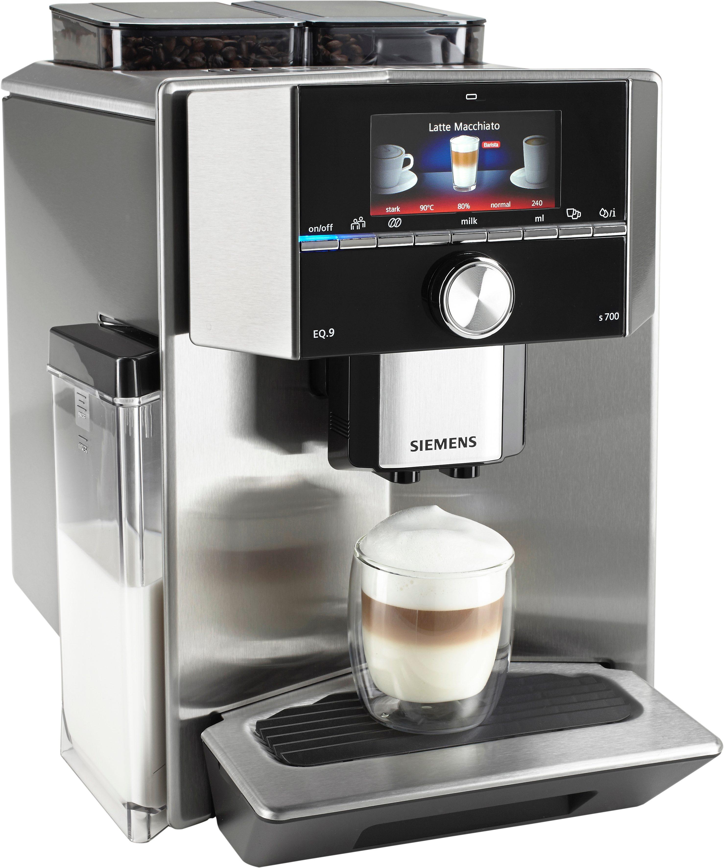 SIEMENS Kaffeevollautomat EQ.9 s700 TI907501DE, Scheibenmahlwerk, mit integriertem Milchtank