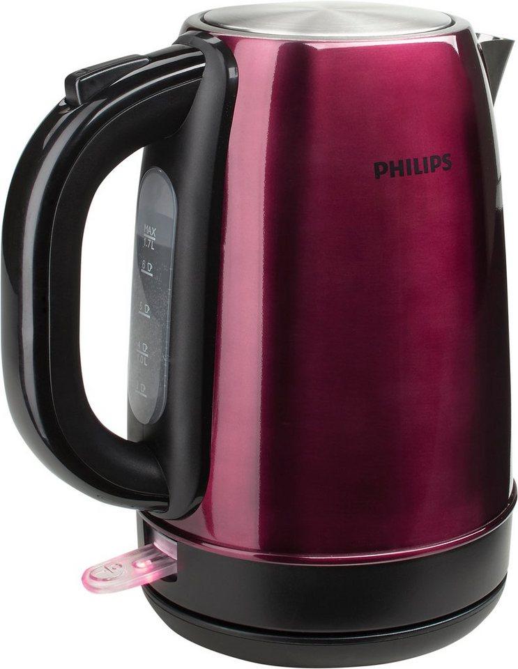 Philips Wasserkocher HD9322/33 für 1,7 Liter, 2200 Watt, burgunderrot matt in burgunder matt