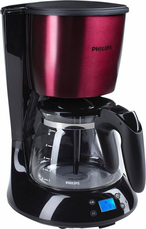 Philips Filterkaffeemaschine HD7459/31 Daily Collection, 1,2l-Glaskanne, Timer, burgunderrot matt in burgunder matt