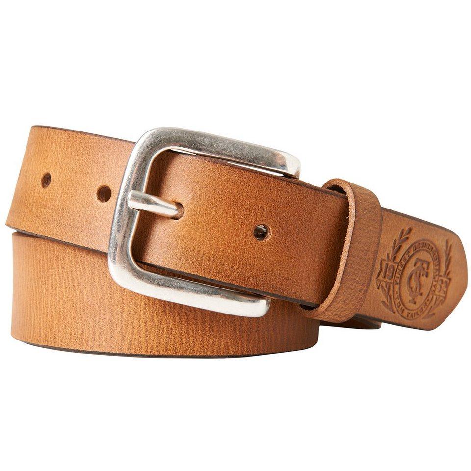 TOM TAILOR Gürtel »kids leather belt with logo embossing« in brandy