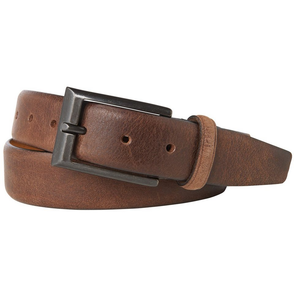 TOM TAILOR Gürtel »leather belt with intense used look« in dk. brown