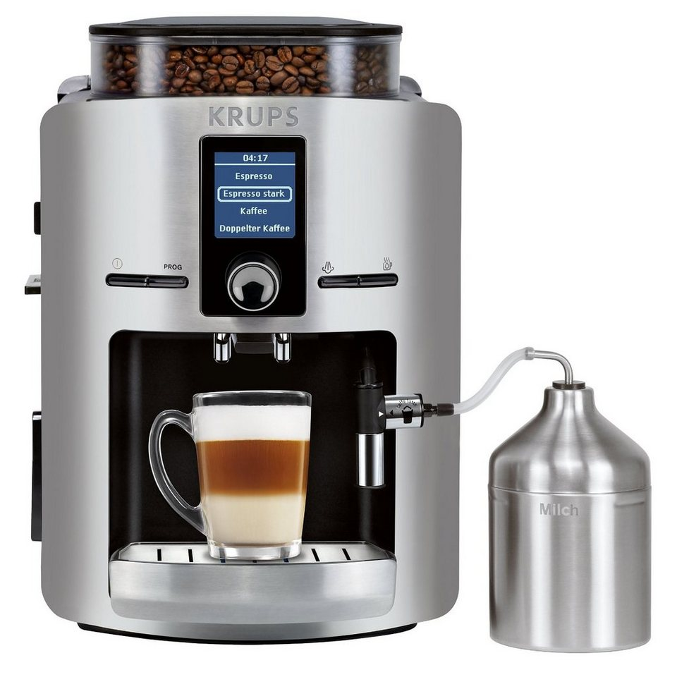 Krups Kaffeevollautomat EA826E, inkl. Milchbehälter aus Edelstahl in silberfarben