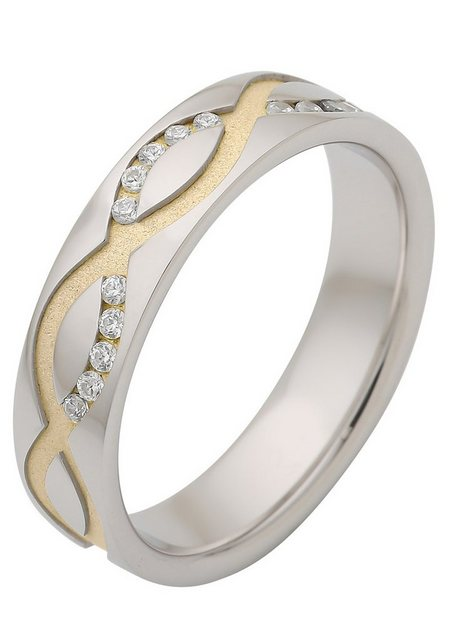 Firetti Trauring mit Gravur »Glanz, Sandmatt, Diamantschnitt, Welle« | Schmuck > Ringe > Ringe mit Gravur | Firetti