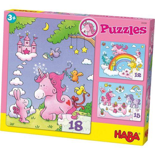 Haba 3er Puzzle-Set - Einhorn Glitzerglück