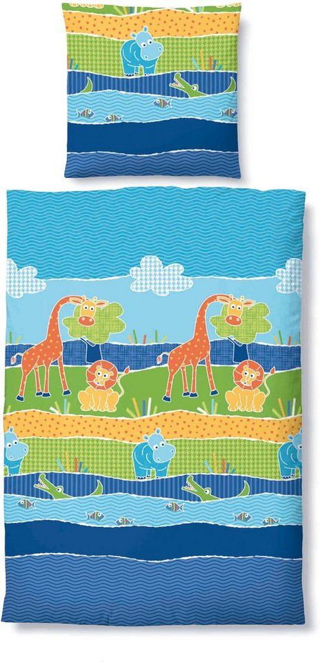 Kinderbettwäsche, biberna, »Zoo«, mit Zootieren in blau-grün