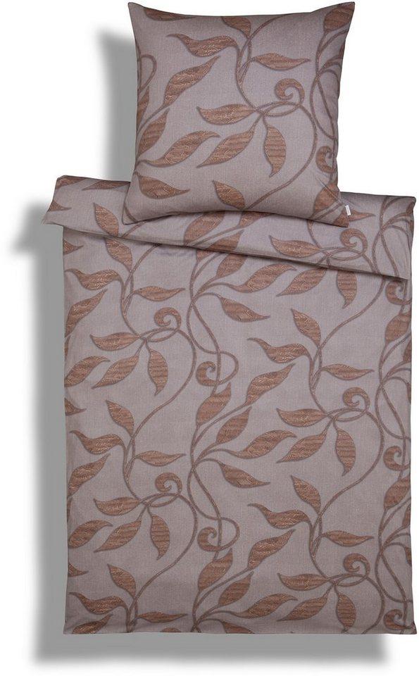 Bettwäsche, Estella, »Elroy«, mit herbstlichem Blätterdesign in maron