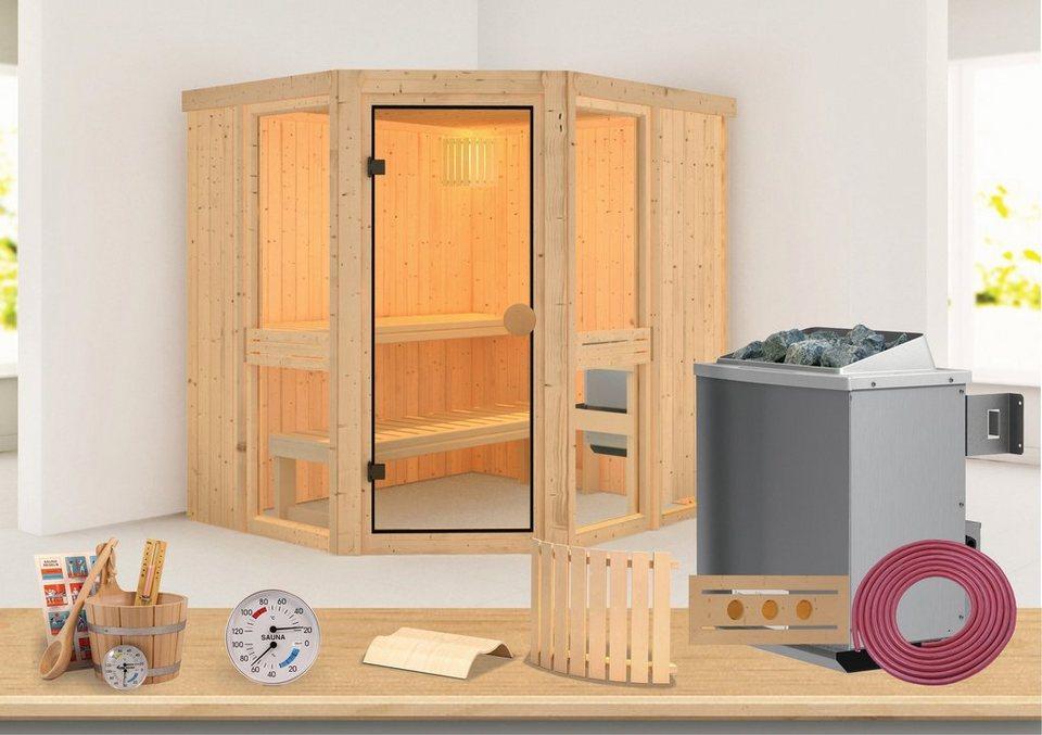 Sauna »Angelina 1« 196/170/198cm, 68bmm, 9-KW-Ofen int. Steuerung in natur