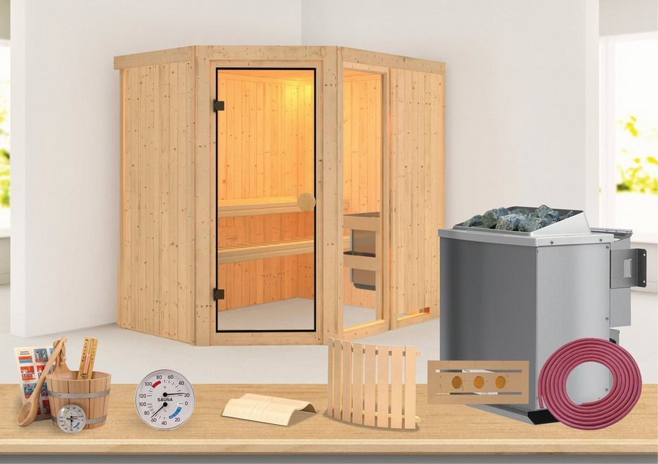 Konifera Sauna »Sofia 1«, 196/151/198 cm, 68 mm, 9-KW-Ofen mit int. Steuerung in natur