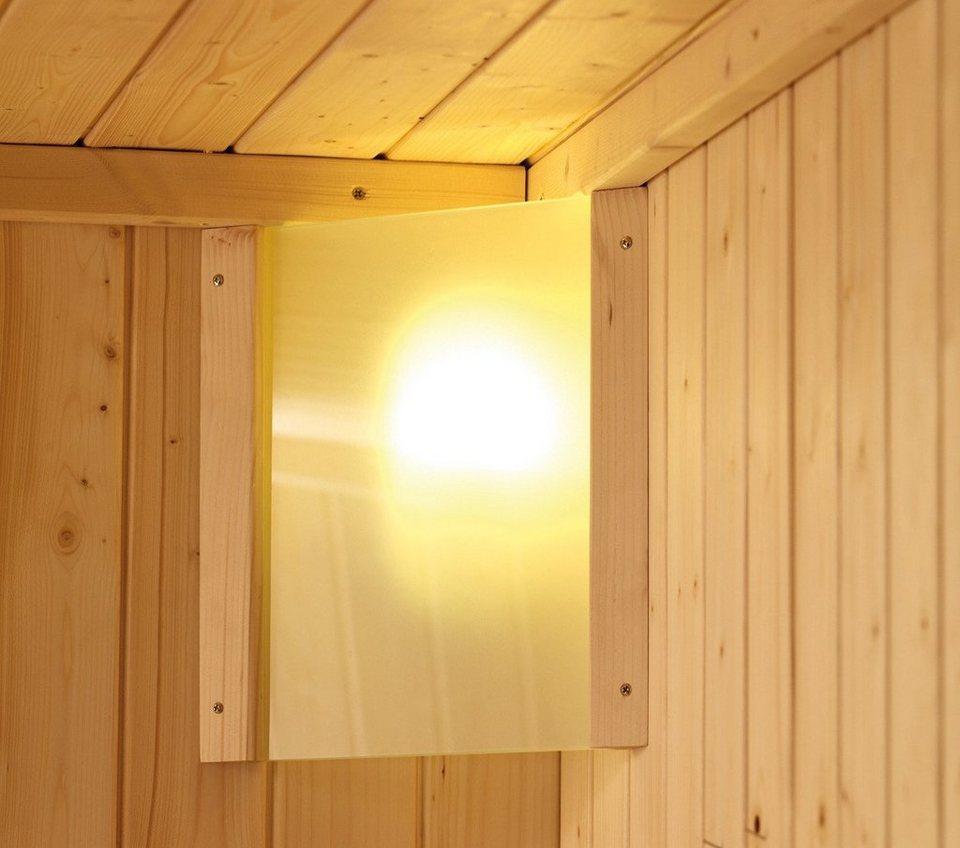 Saunaleuchte »Premium Plug&Play«, 230 V steckerfertig, zur Eckmontage in natur