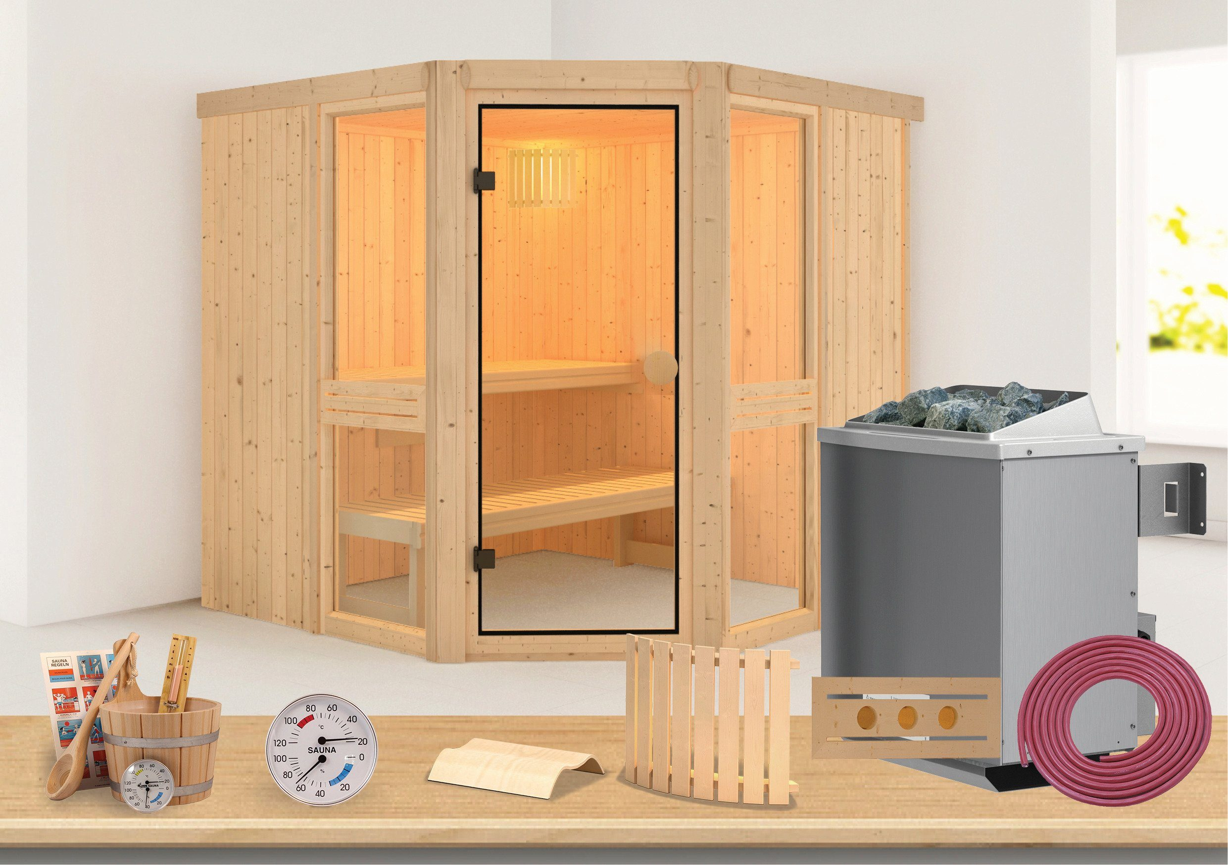 Sauna »Angelina 2«, 231/196/198 cm, 68 mm, 9-KW-Ofen mit int. Steuerung