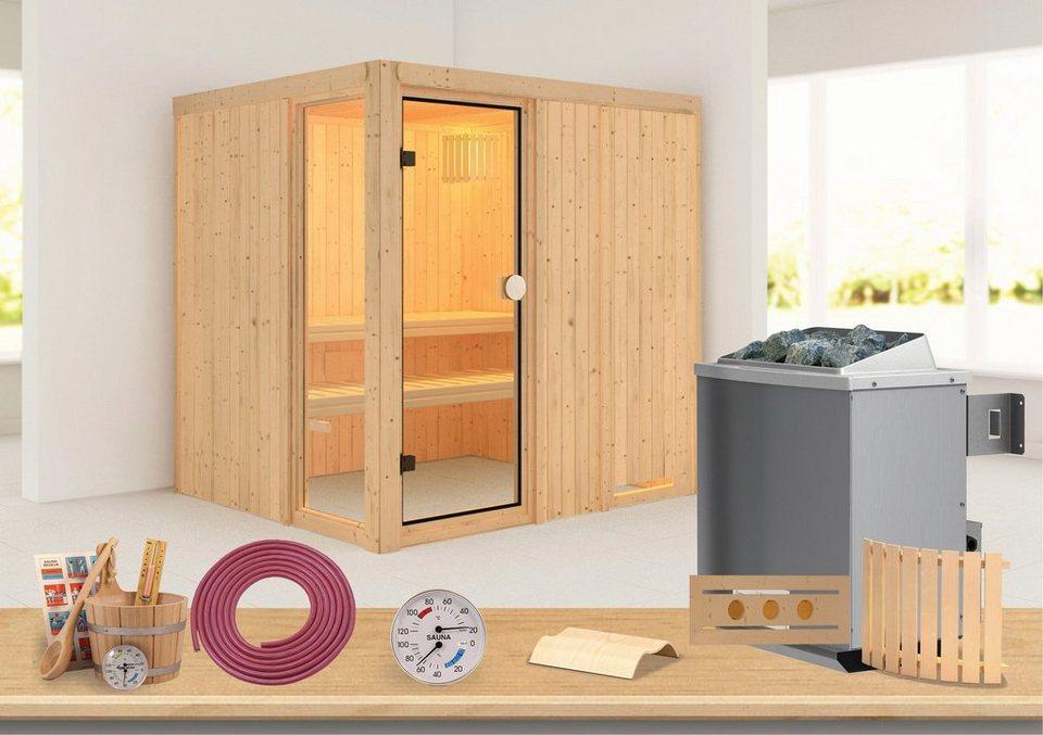 Konifera Sauna »Kabolin«, 196/170/198 cm, 68 mm, 9-KW-Ofen mit int. Steuerung in natur