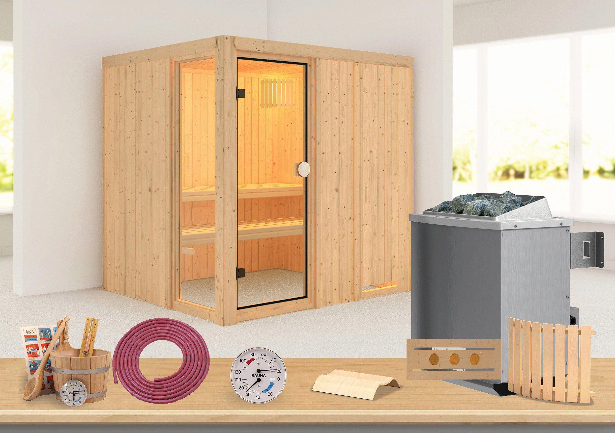 Sauna »Kabolin«, 196/170/198 cm, 68 mm, 9-KW-Ofen mit int. Steuerung