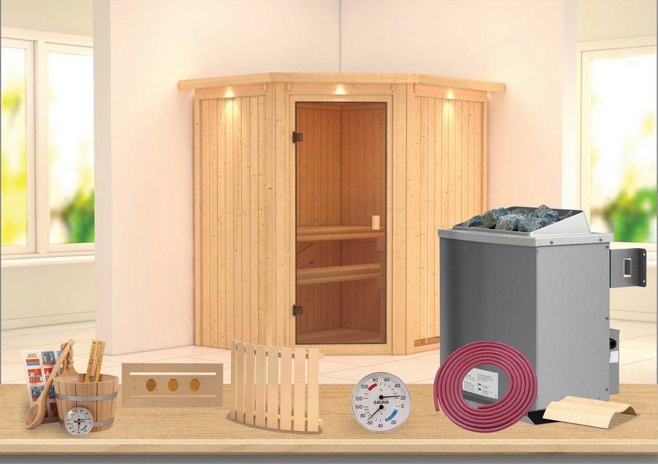 Sauna »Carolin«, 175/152/198 cm, 9-KW-Ofen mit int. Steuerung in natur