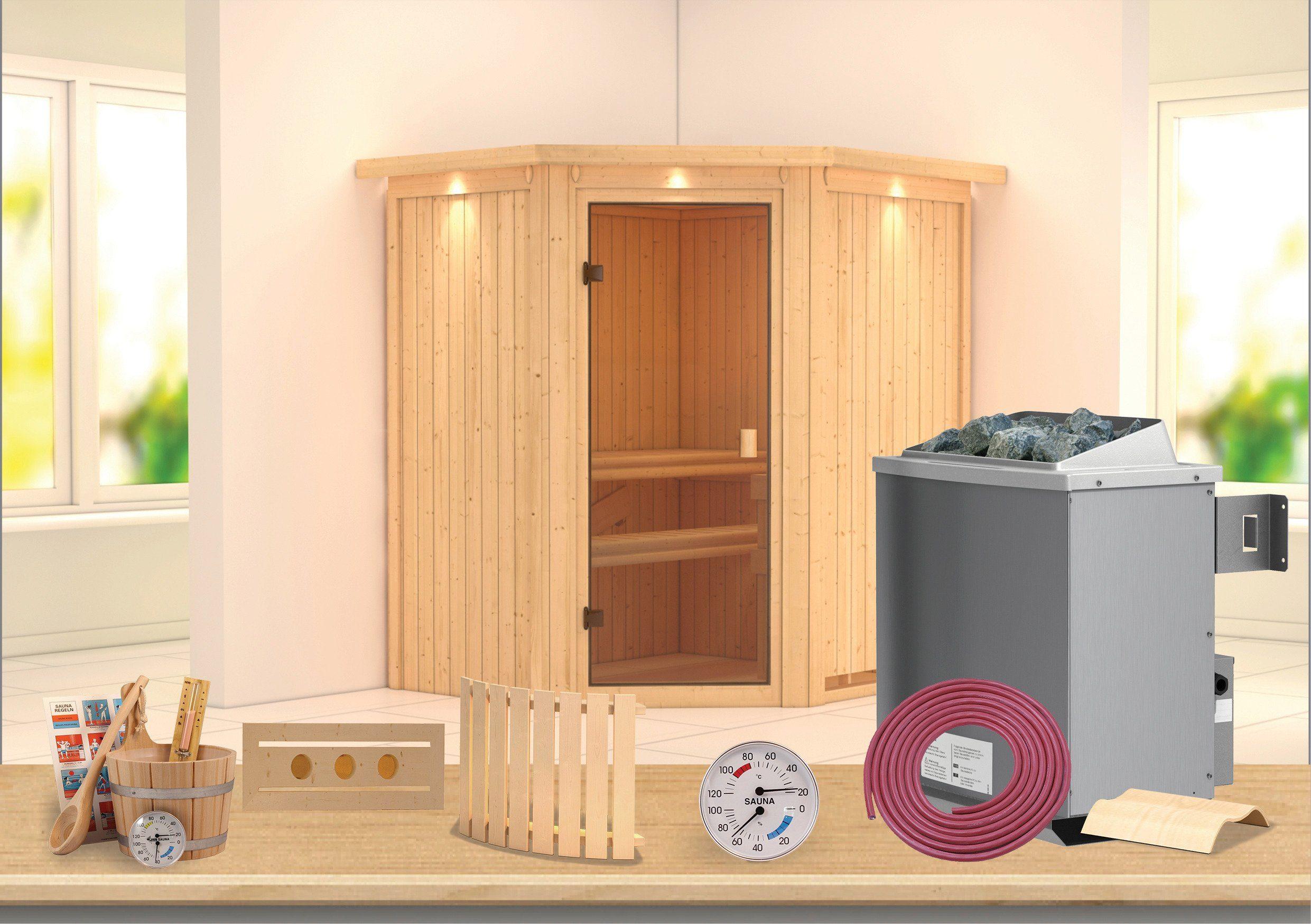 KONIFERA Sauna »Carolin«, 175/152/198 cm, 9-KW-Ofen mit int. Steuerung