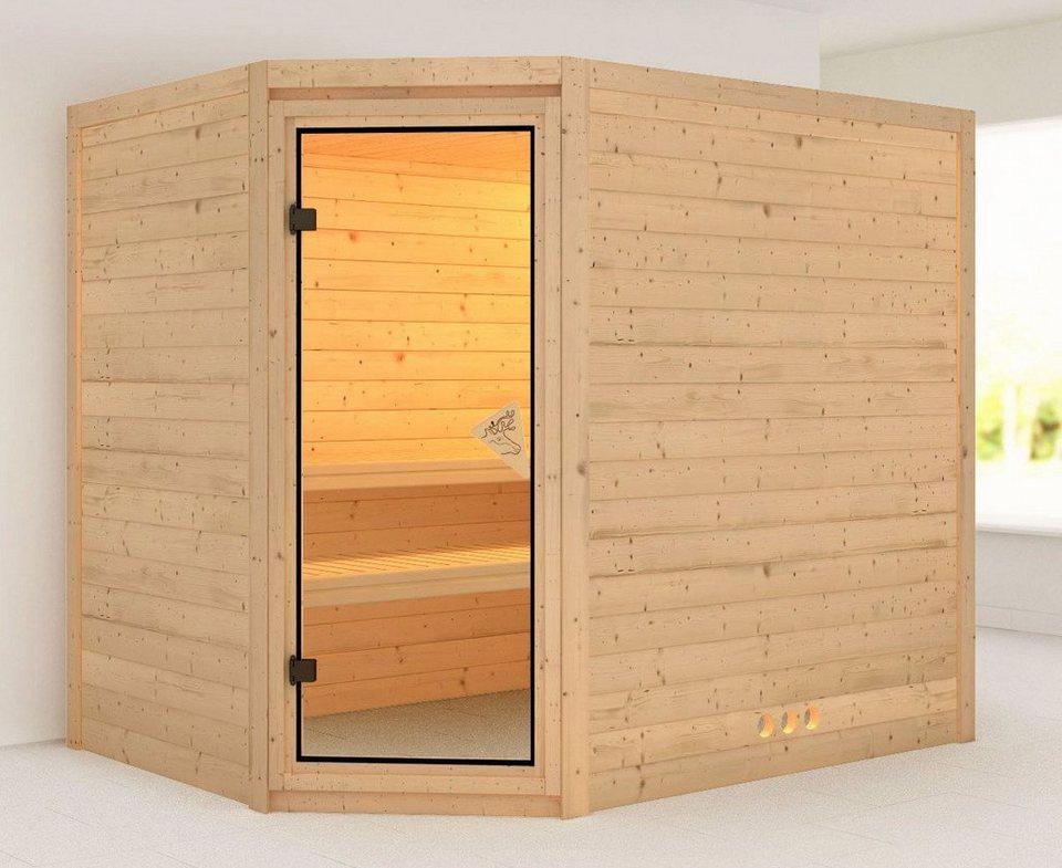Massivholzsauna »Tanami«, 236/184/208 cm, ohne Ofen in natur
