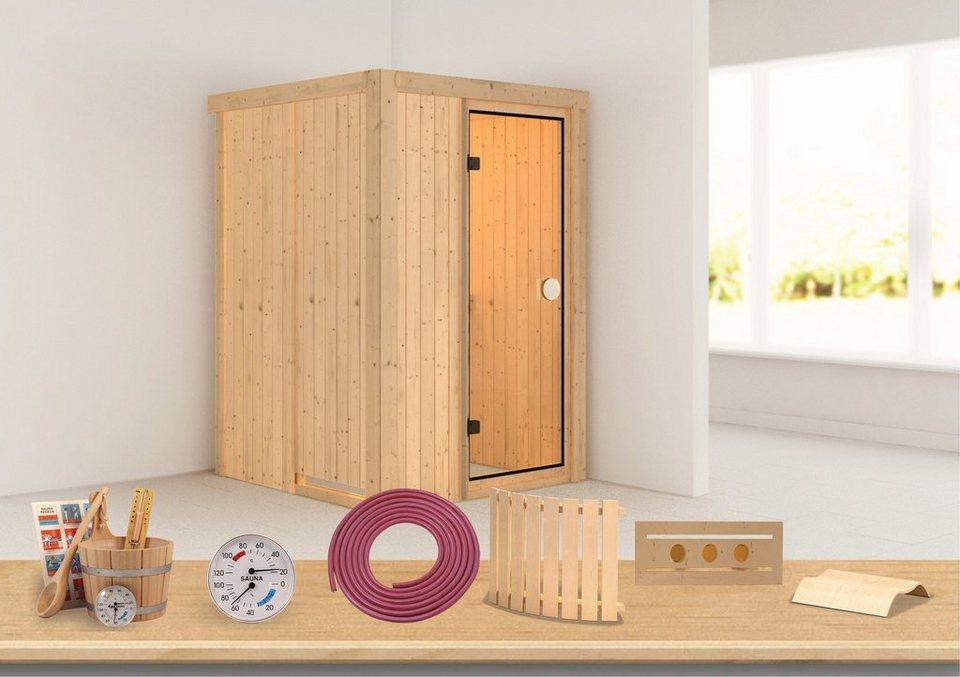 Sauna »Linda«, 135/135/198 cm, 68 mm, 9-KW-Ofen mit int. Steuerung in natur
