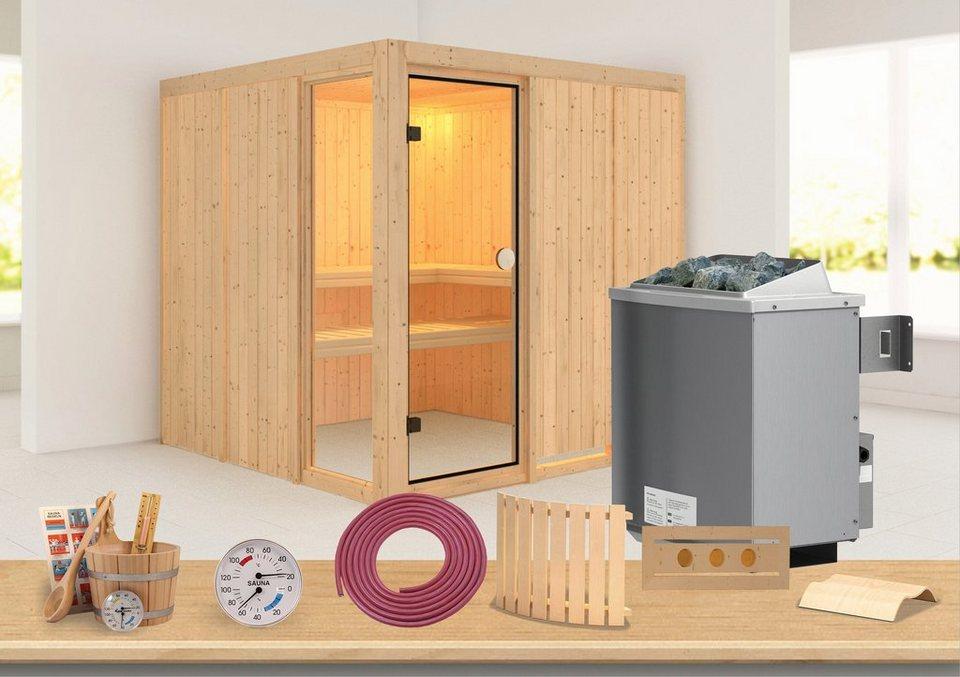 Konifera Sauna »Natrin«, 196/196/198 cm, 68 mm, 9-KW-Ofen mit int. Steuerung in natur