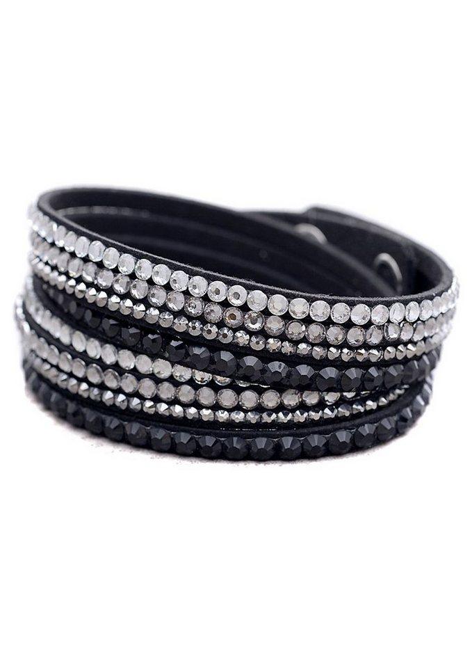 firetti Armschmuck: Armband zum Wickeln / Wickelarmband mit Glassteinen in silberfarben/schwarz