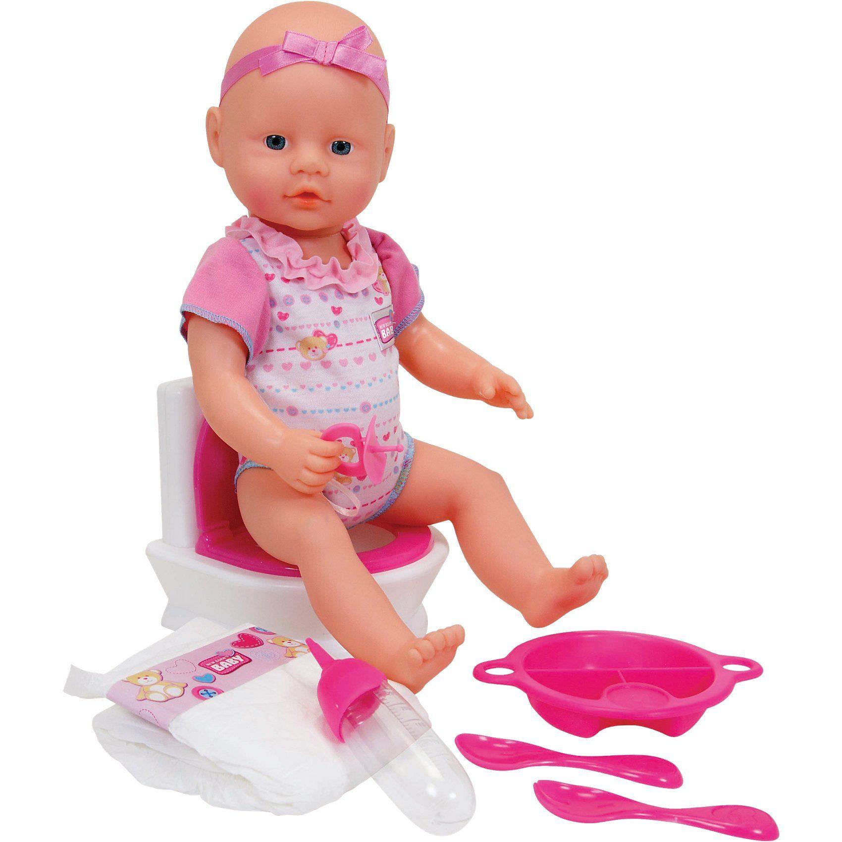 SIMBA New Born Babypuppe Flushing Potty, 38 cm