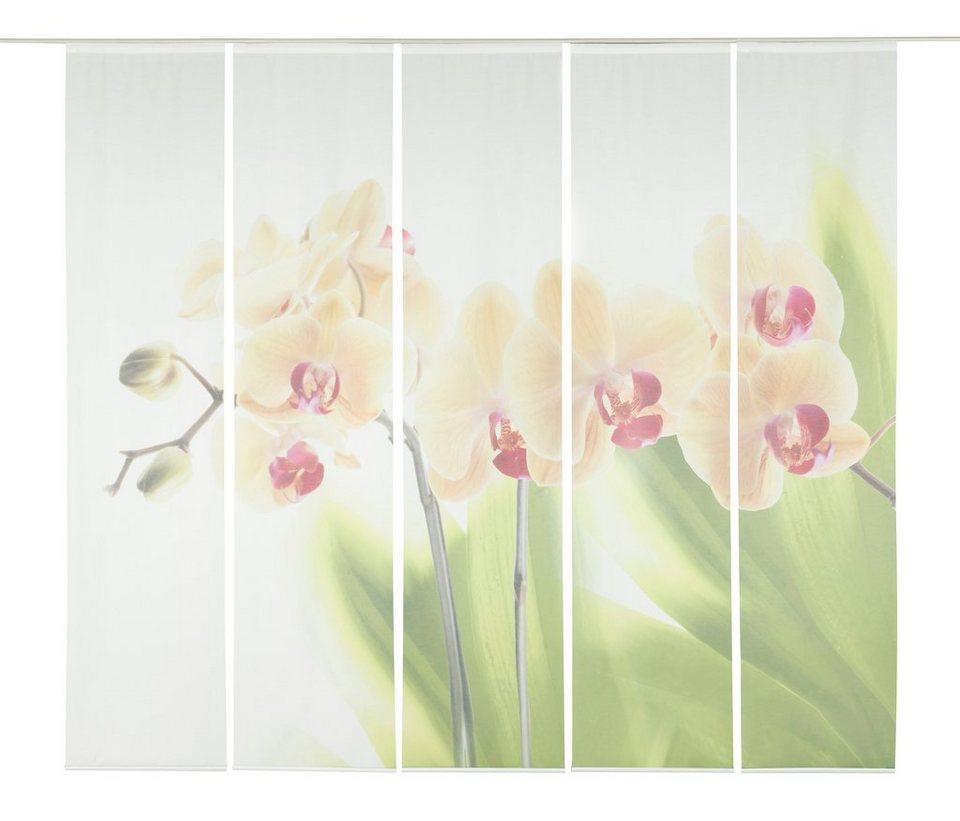 Schiebegardine, Emotiontextiles, »Orchidee«, mit Klettband (5-tlg. incl. Technik) in weiß/grün