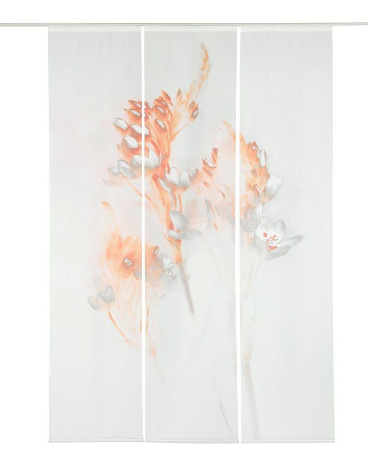 Schiebegardine, Emotiontextiles, »Floralzauber« (3 Stück mit Zubehör) in Weiß-orange/grau