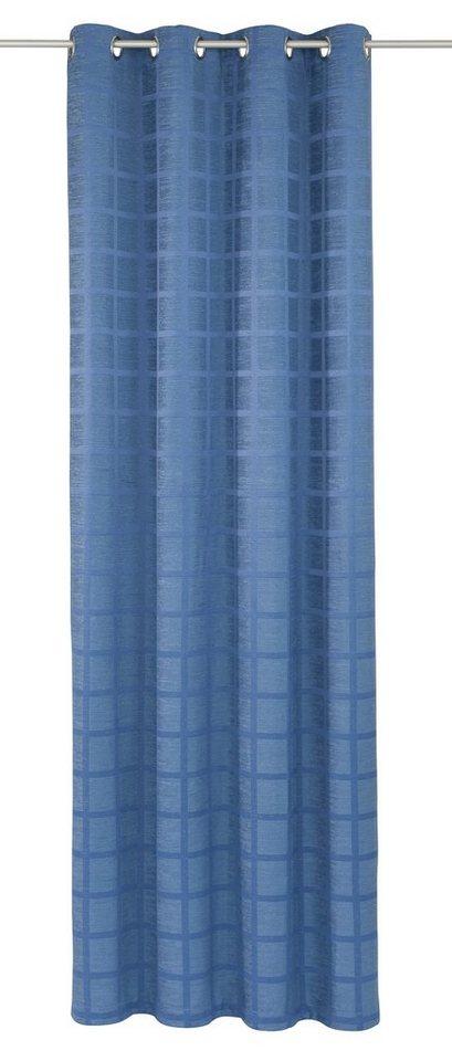Vorhang, Wirth, »Toco-Karo«, mit Ösen (1 Stück) in blau
