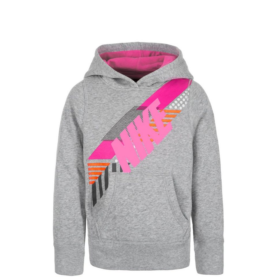 NIKE GFX Trainingskapuzenpullover Kinder in grau / pink
