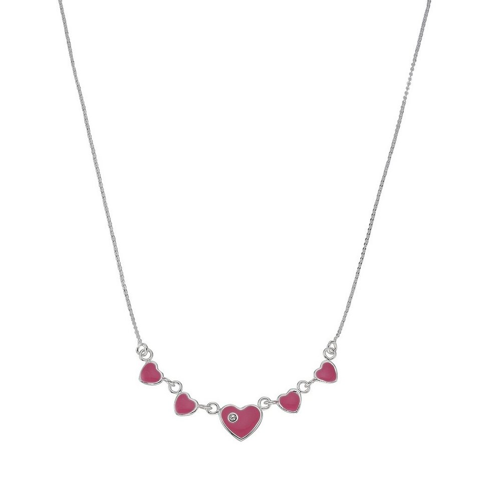 Zeeme Collier »925/- Sterling Silber Herzen« in rosa