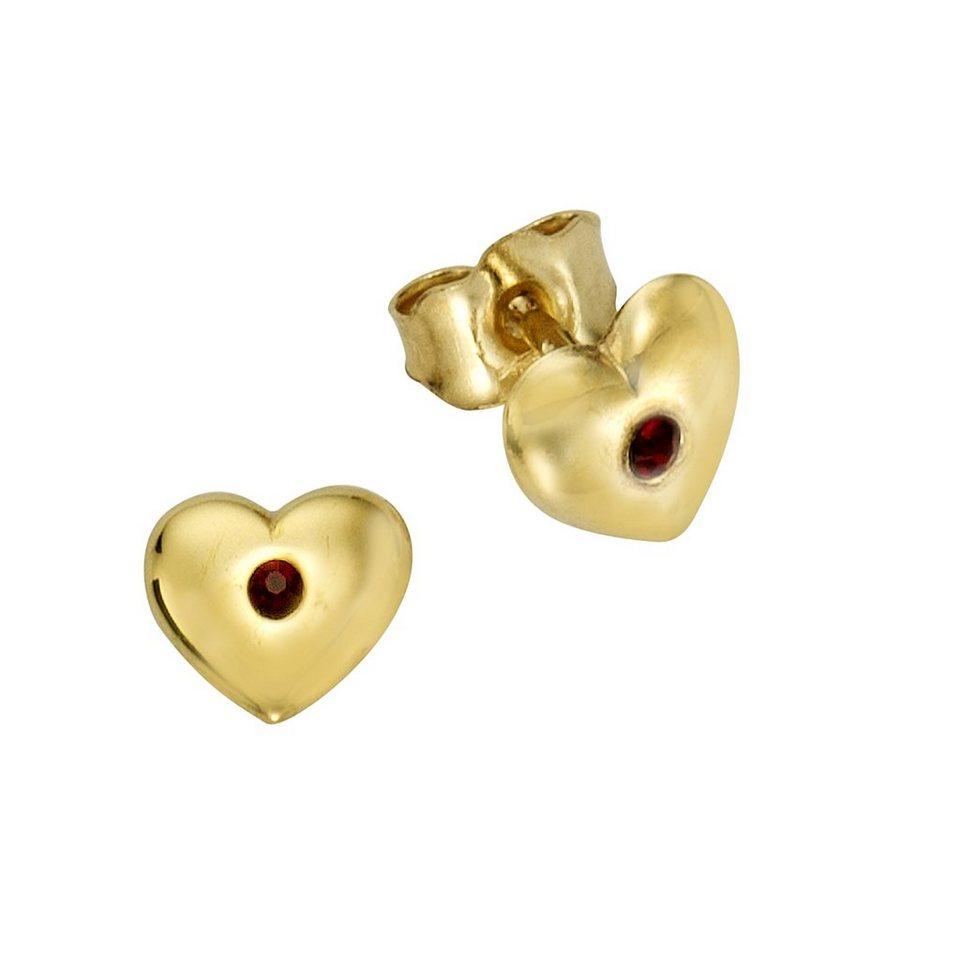 Zeeme Ohrstecker »333/- Gelbgold Kristall rot« in gelb