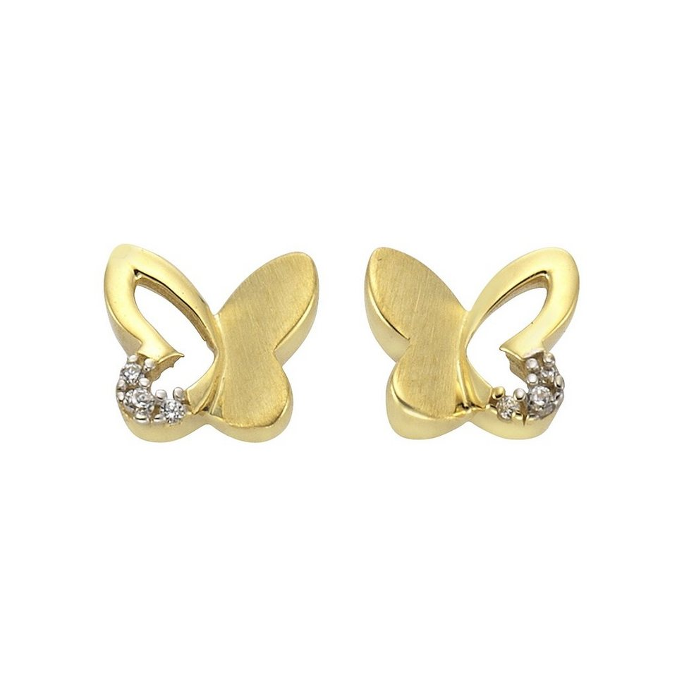 Zeeme Ohrstecker »333/- Gold bicolor Schmetterling« in gelb