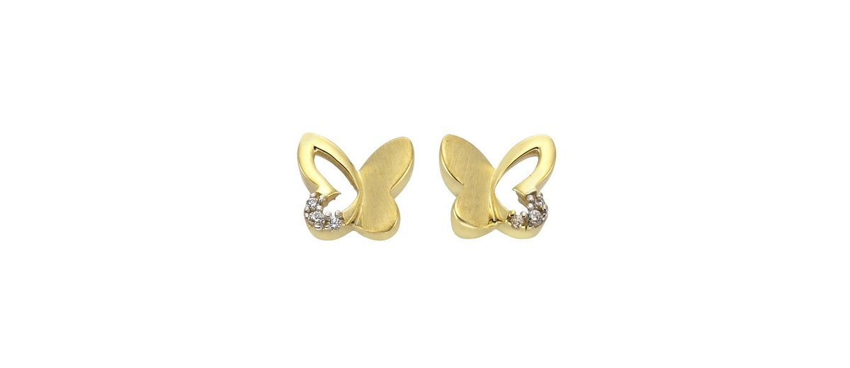 Zeeme Ohrstecker »333/- Gold bicolor Schmetterling«