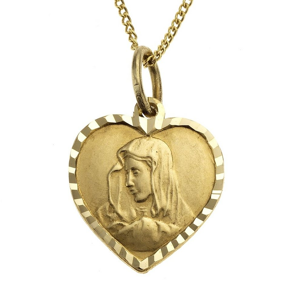 Zeeme Anhänger mit Kette »333/- Gelbgold Herz Madonna« in gelb