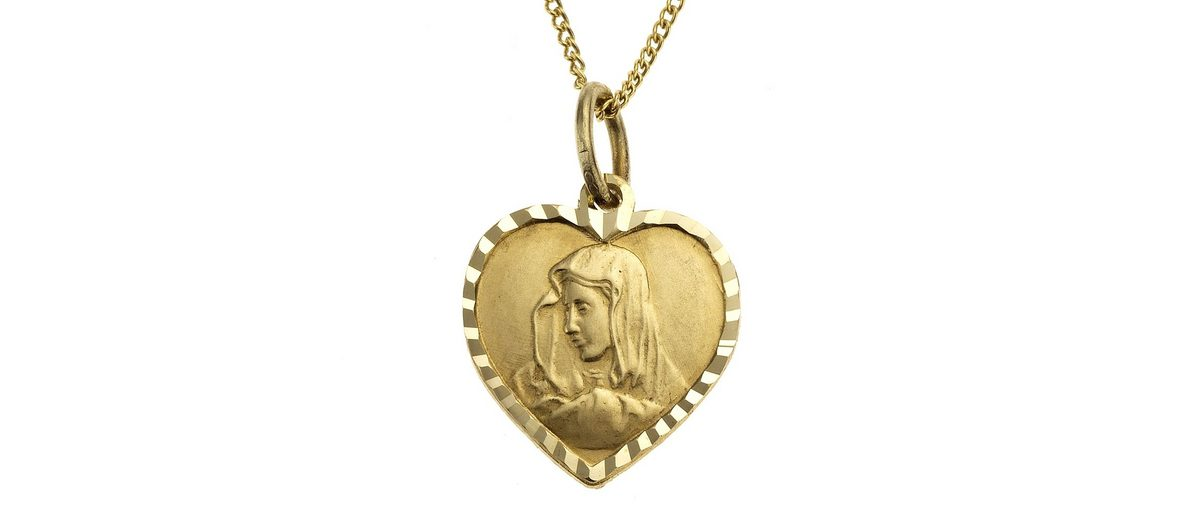 Zeeme Anhänger mit Kette »333/- Gelbgold Herz Madonna«