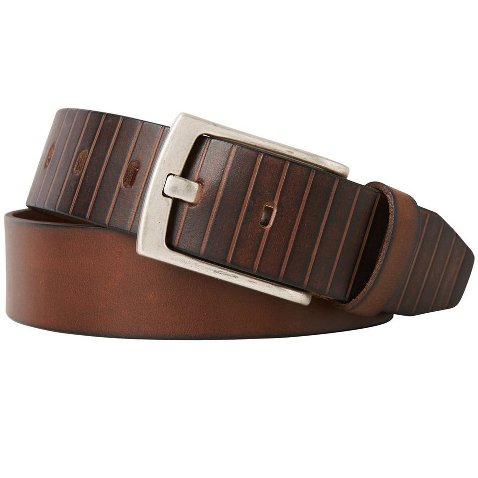 TOM TAILOR Gürtel »Leather belt with cutting details« in brown