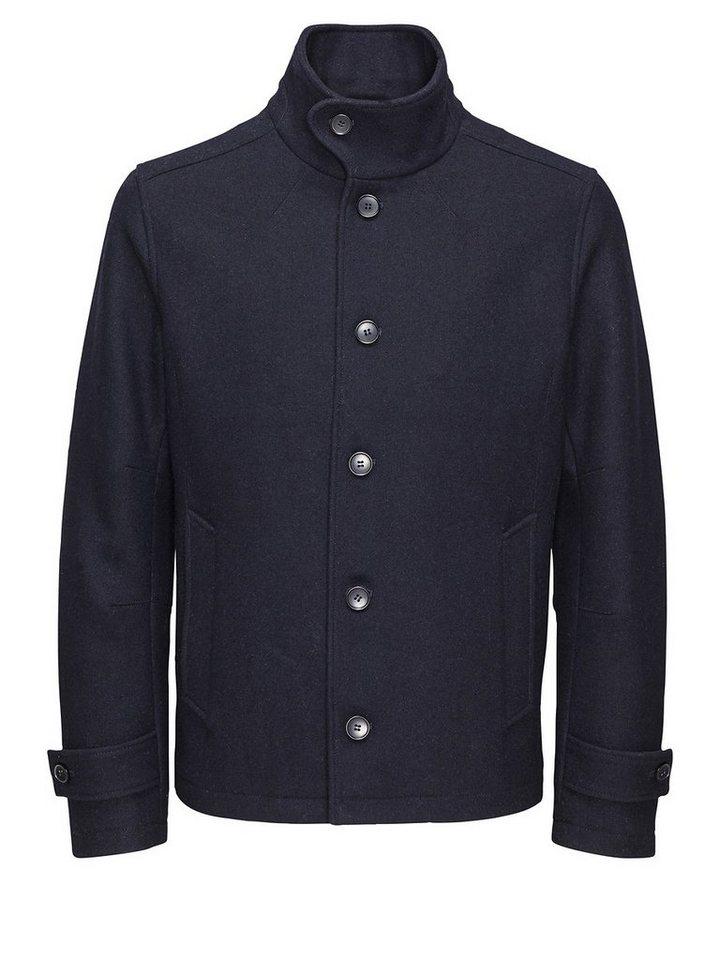 Jack & Jones Klassische Wolle Mantel in Dark Navy