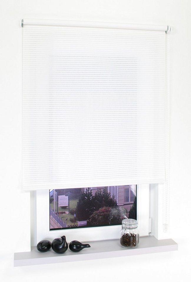 Seitenzugrollo, Liedeco, »Kettenzugrollo Dekor Streifen«, Lichtschutz, Fixmaß in Streifen Weiss