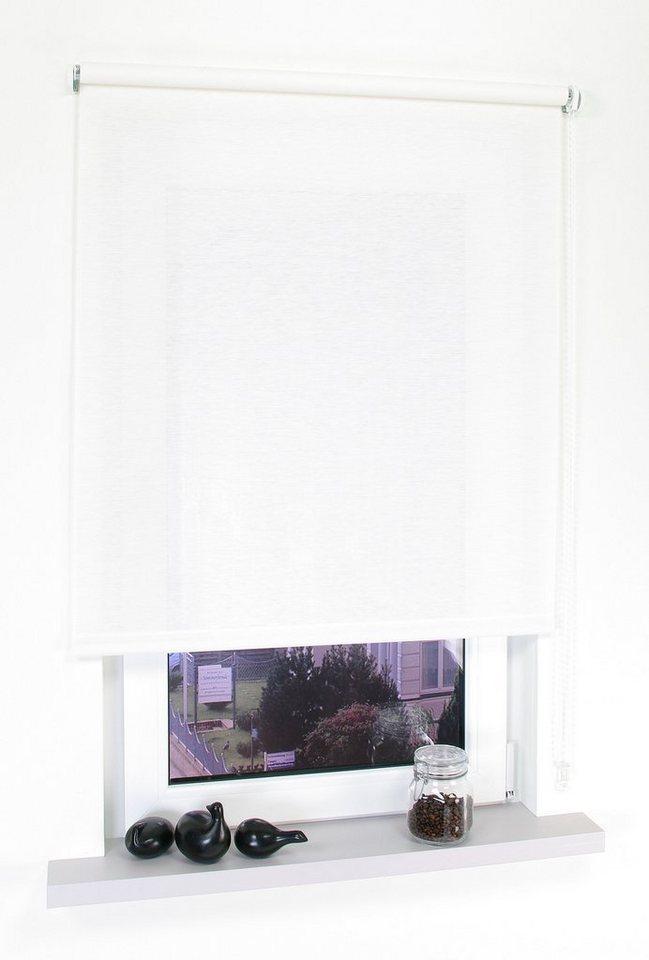 Seitenzugrollo, Liedeco, »Kettenzugrollo Dekor Struktur«, Lichtschutz, Fixmaß in Struktur Natur Weiss