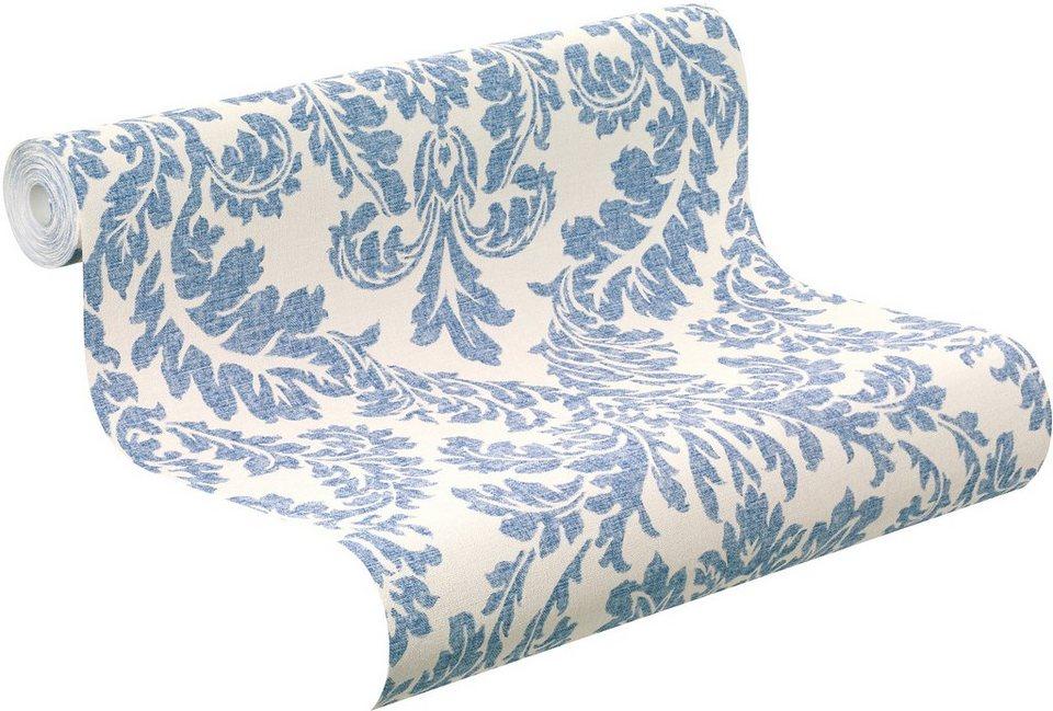 Vliestapete, Rasch, »Florentine, Ornament« in blau, creme