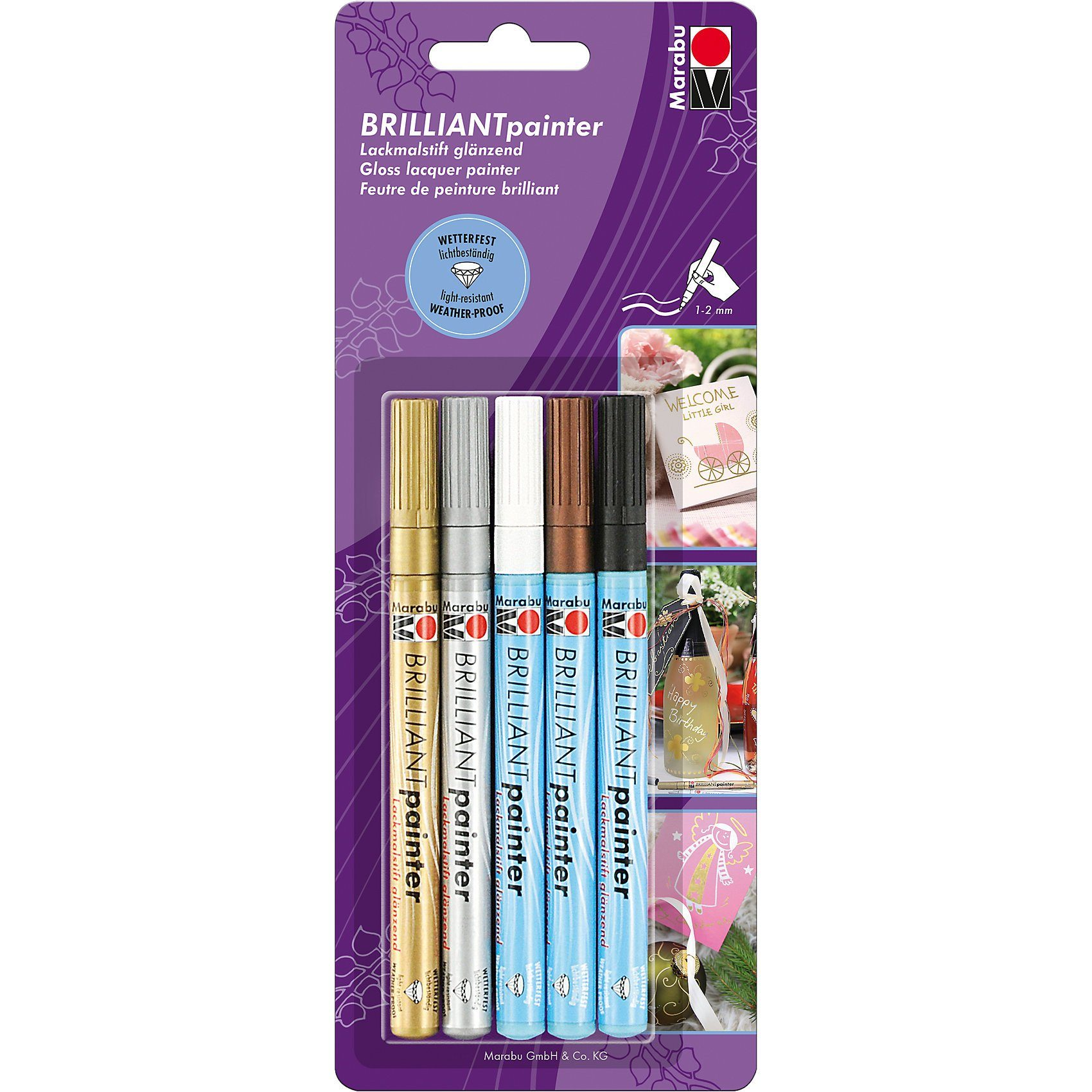 Marabu Brilliant Painter Dekormarker, 5 Farben