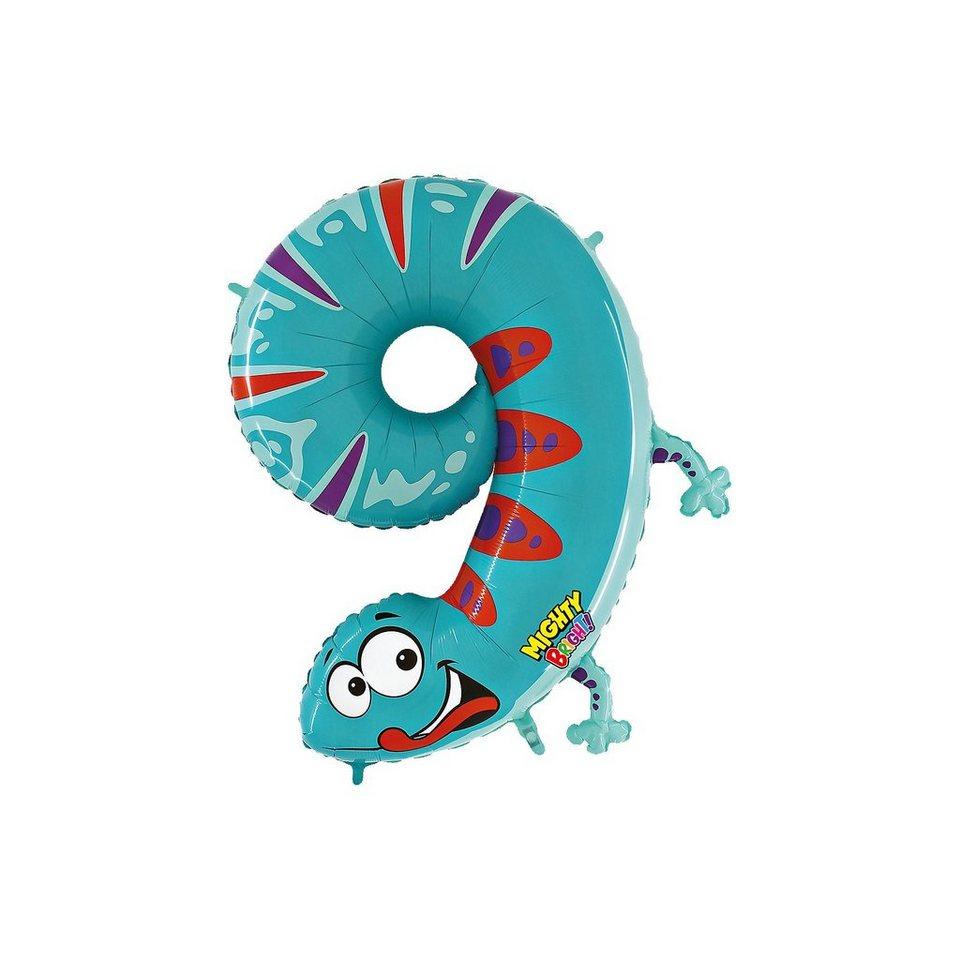 Karaloon Ballon Zahl 9 Gecko