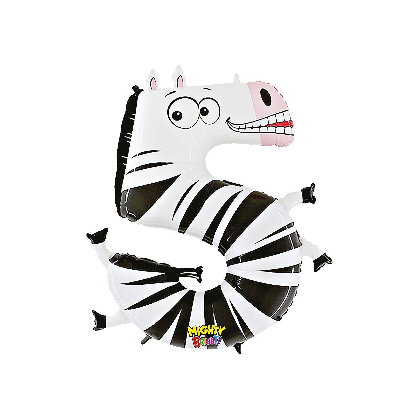 Karaloon Ballon Zahl 5 Zebra