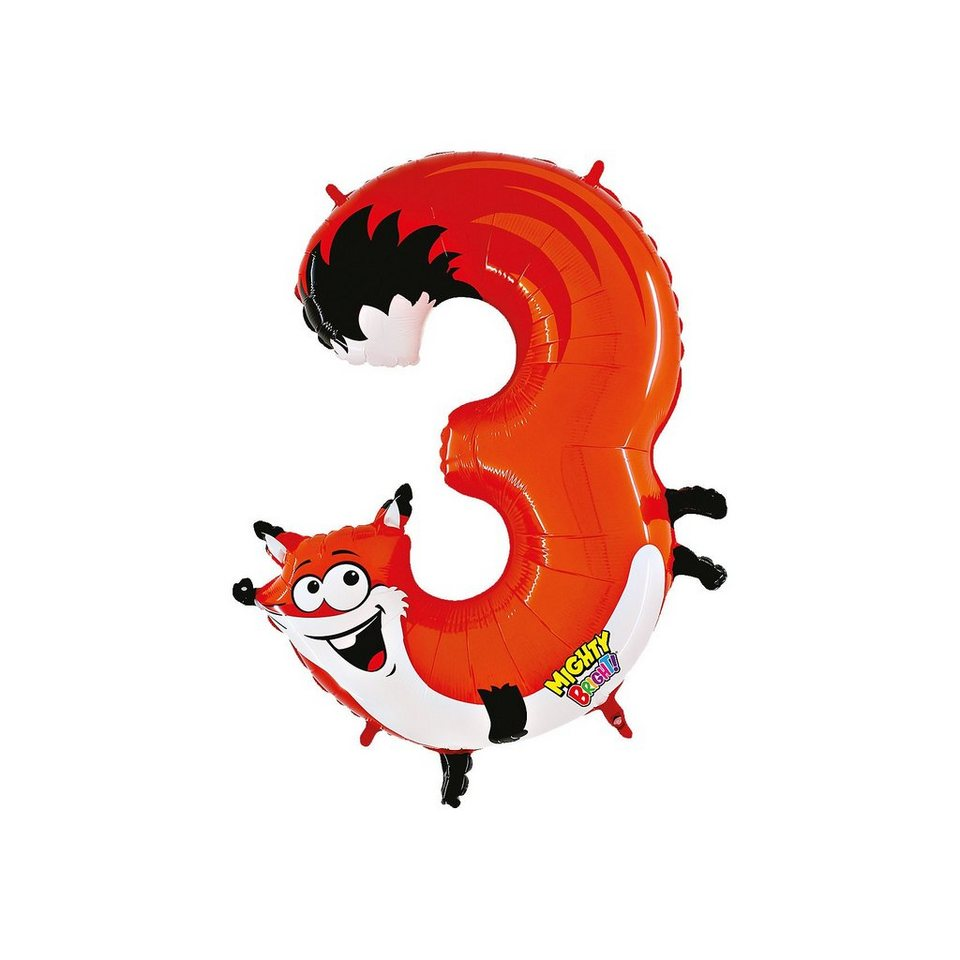 Karaloon Ballon Zahl 3 Fuchs
