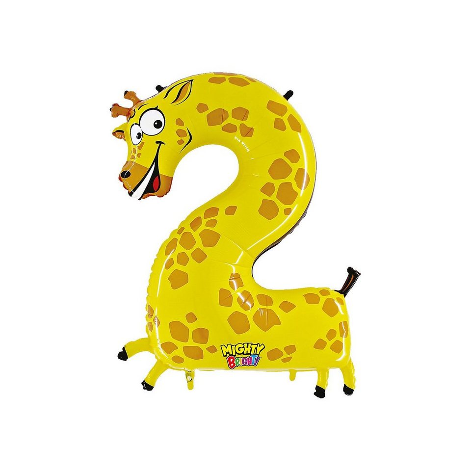 Karaloon Ballon Zahl 2 Giraffe
